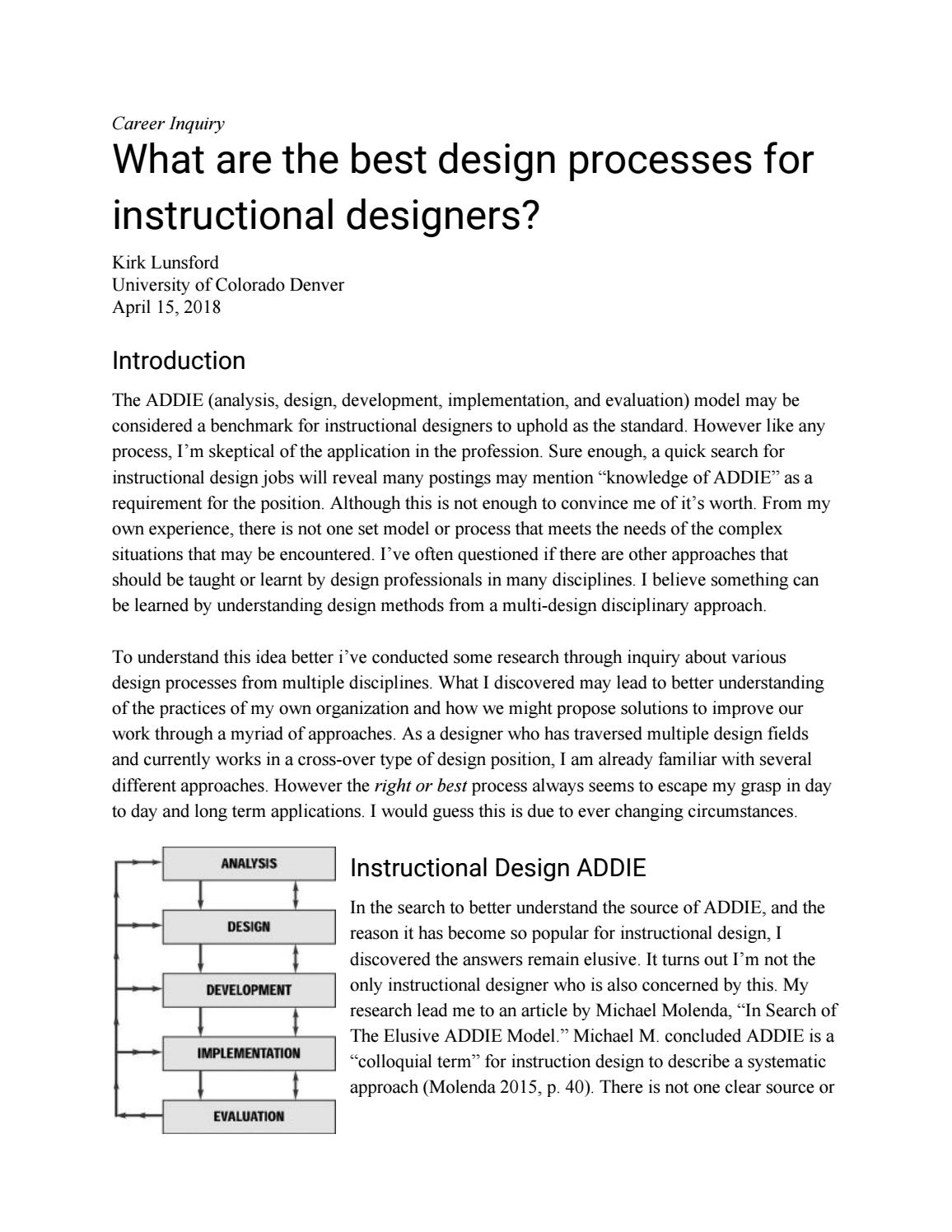 What Are The Best Design Processes For Instructional Designers By Kirk Lunsford Issuu