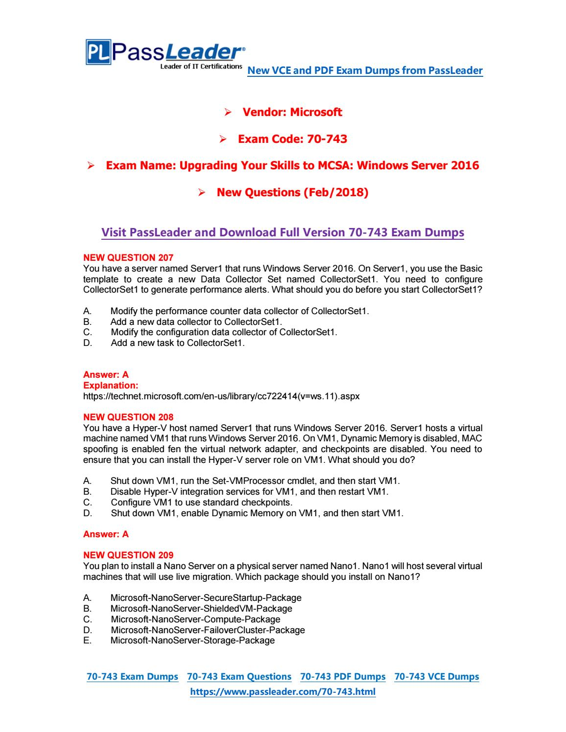 2019-New-PassLeader-70-743-Exam-Dumps-VCE-PDF-Braindumps