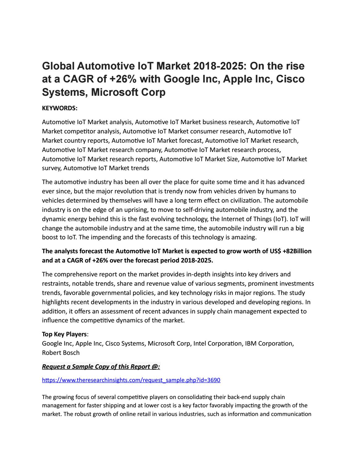 Global Automotive IoT Market 2018-2025: On the rise at a