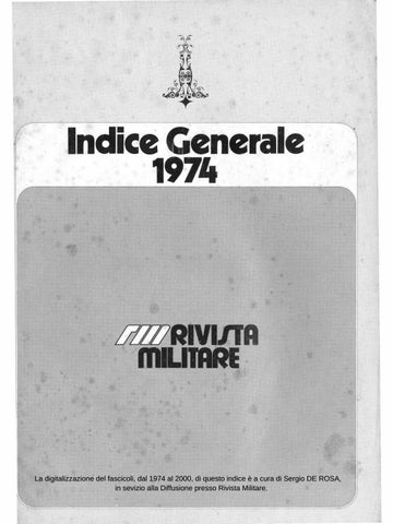 Indice di Rivista Militare dal 1974 al 2018 by Biblioteca Militare ... a9f366601f7f