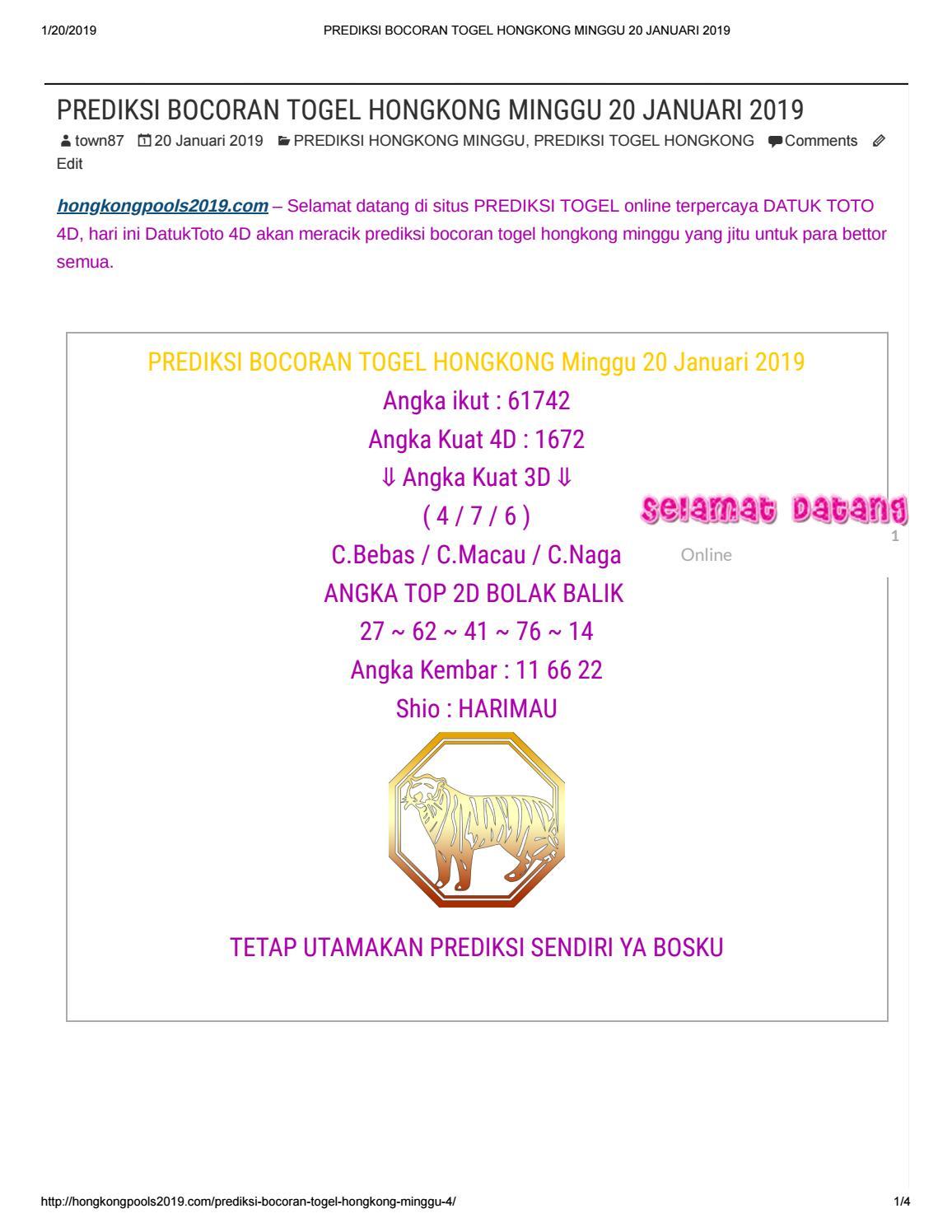 PREDIKSI BOCORAN TOGEL HONGKONG MINGGU 20 JANUARI 2019 by angelina1310 -  issuu 91046a03d2