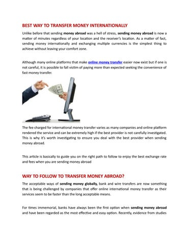 Page 1 Of Best Way To Transfer Money Internationally