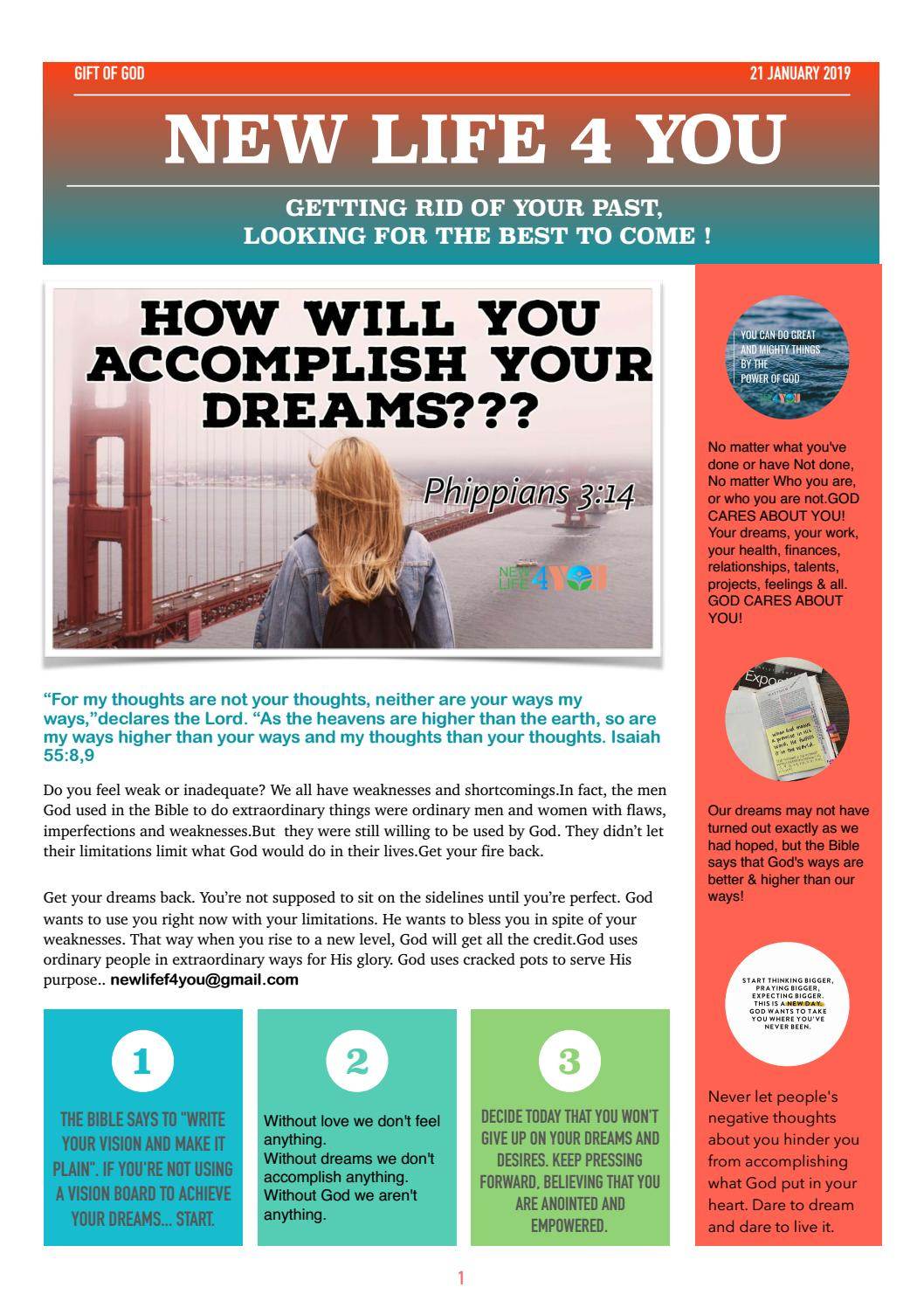 NEWLIFE4YOU JANUARY 21,2019 NEWSLETTER by New life For you