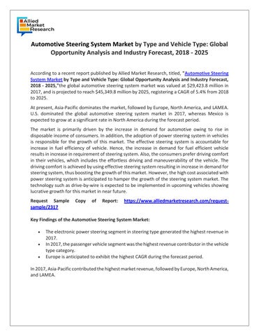 Automotive Steering System Market Overview by rediffmail920