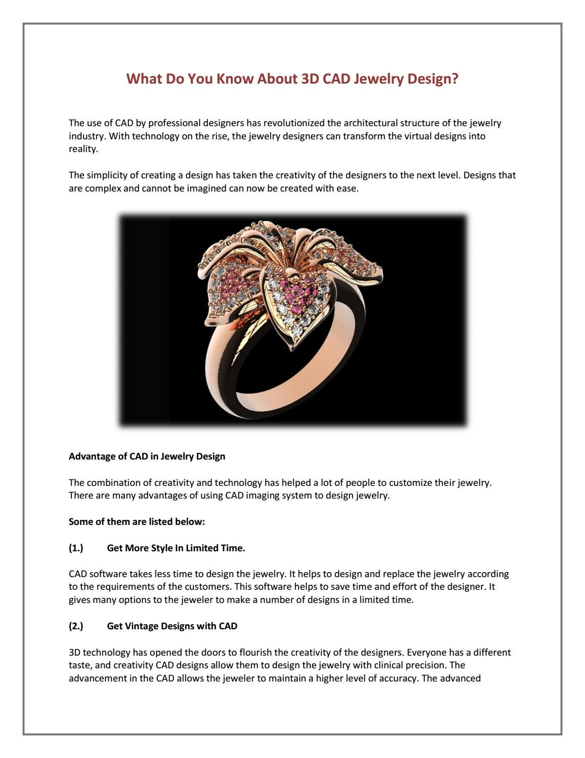 What Do You Know About 3d Cad Jewelry Design By 3d Custom Jewel Issuu