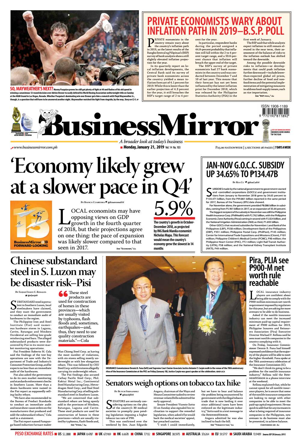 BusinessMirror January 21, 2019 by BusinessMirror - issuu