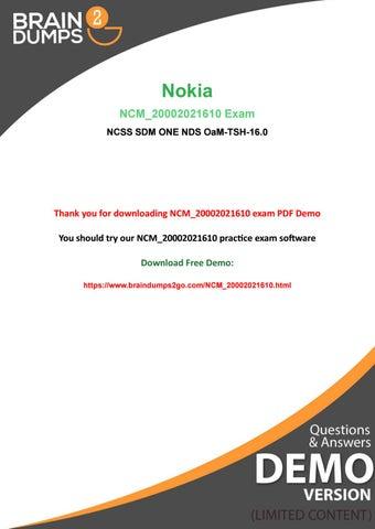 063cb8f2e Latest Nokia NCM 20002021610 Exam Dumps - 100% Passing Guarantee ...