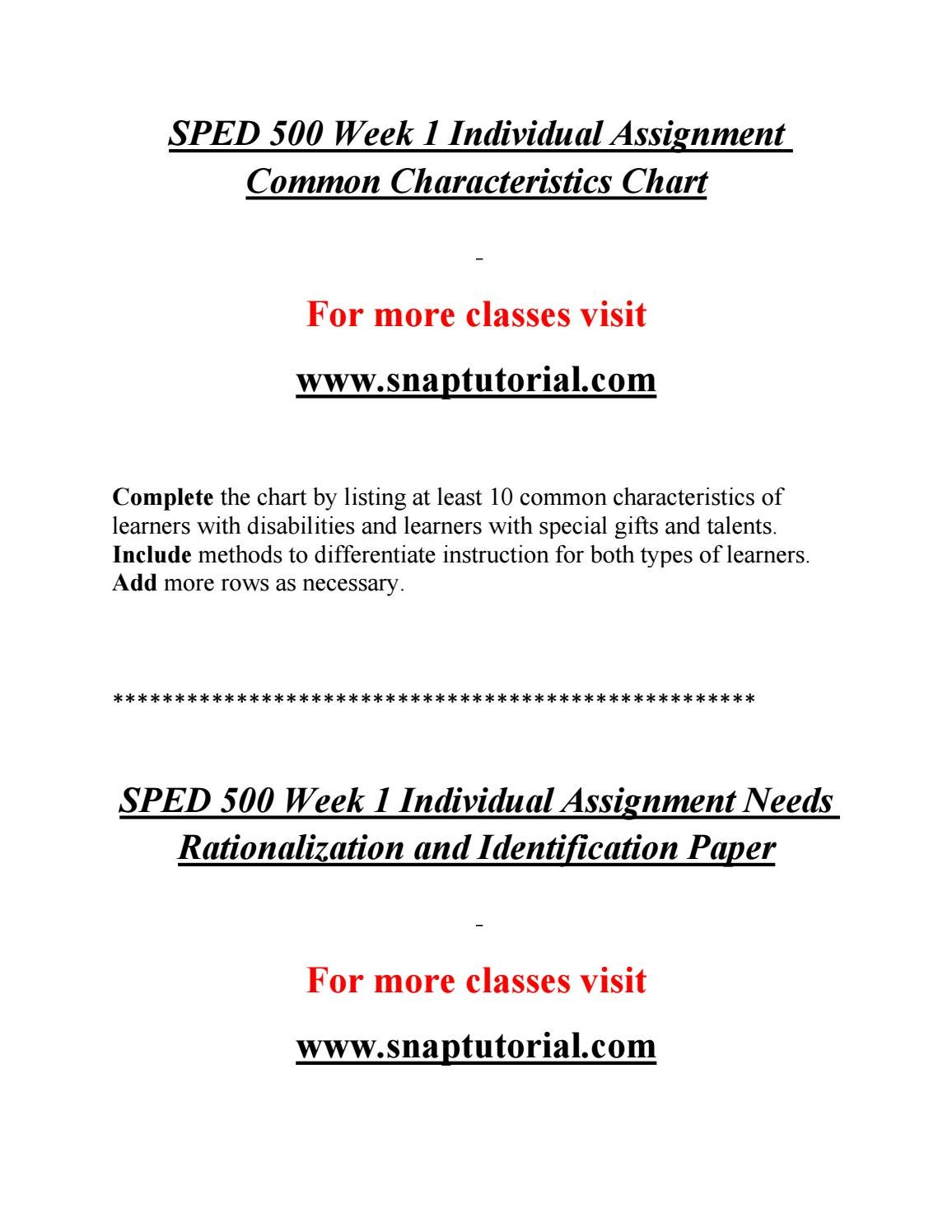 SPED 500 Effective Communication / snaptutorial com by