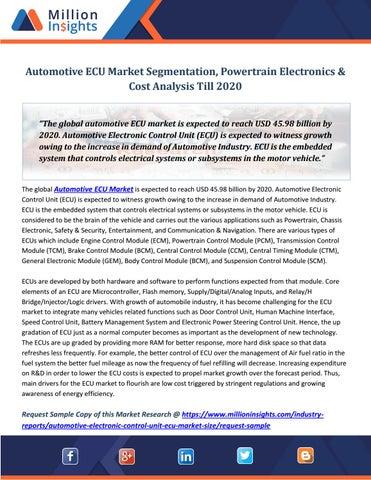 Automotive Ecu Market Segmentation Train Electronics Cost Ysis Till 2020