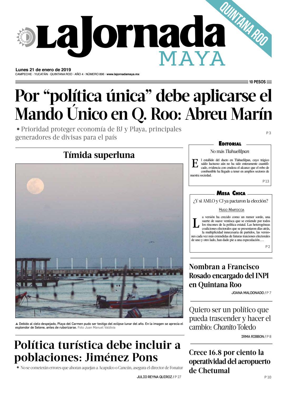 La Jornada Maya · lunes 21 de enero de 2019 by La Jornada Maya - issuu fec5a3e3dec27