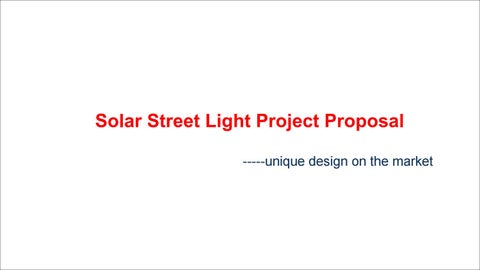 Solar Street Light Project Proposal For Philippines Government By