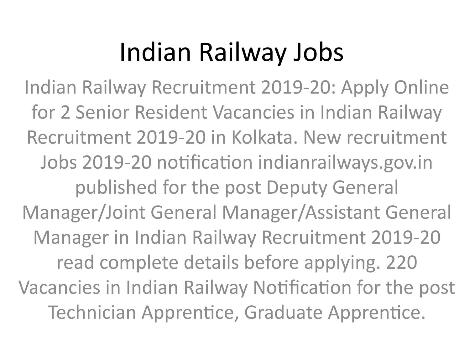 Indian Railway Jobs 2019 by rs8385565 - issuu