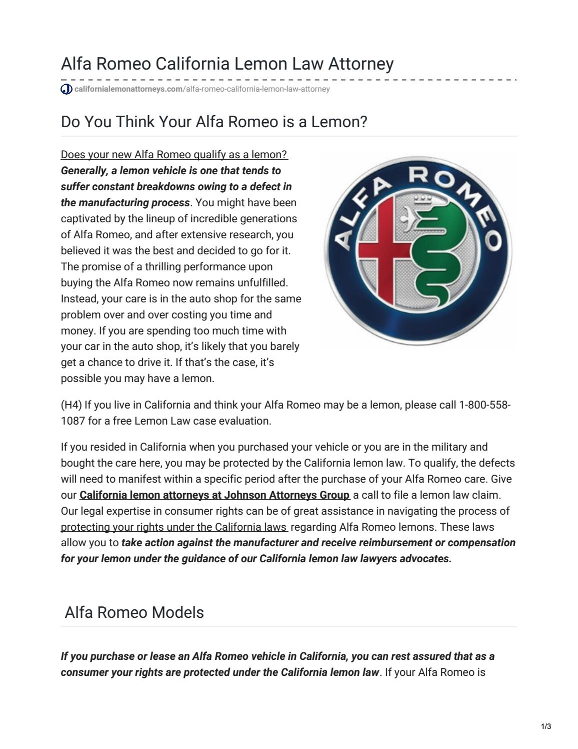 Lemon Law California >> Do You Think Your Alfa Romeo Is A Lemon By California Lemon