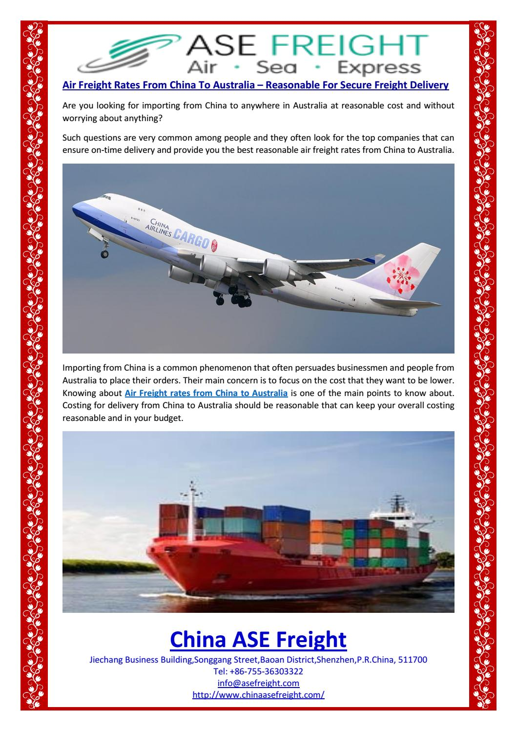 Air Freight Rates From China To Australia – Reasonable For