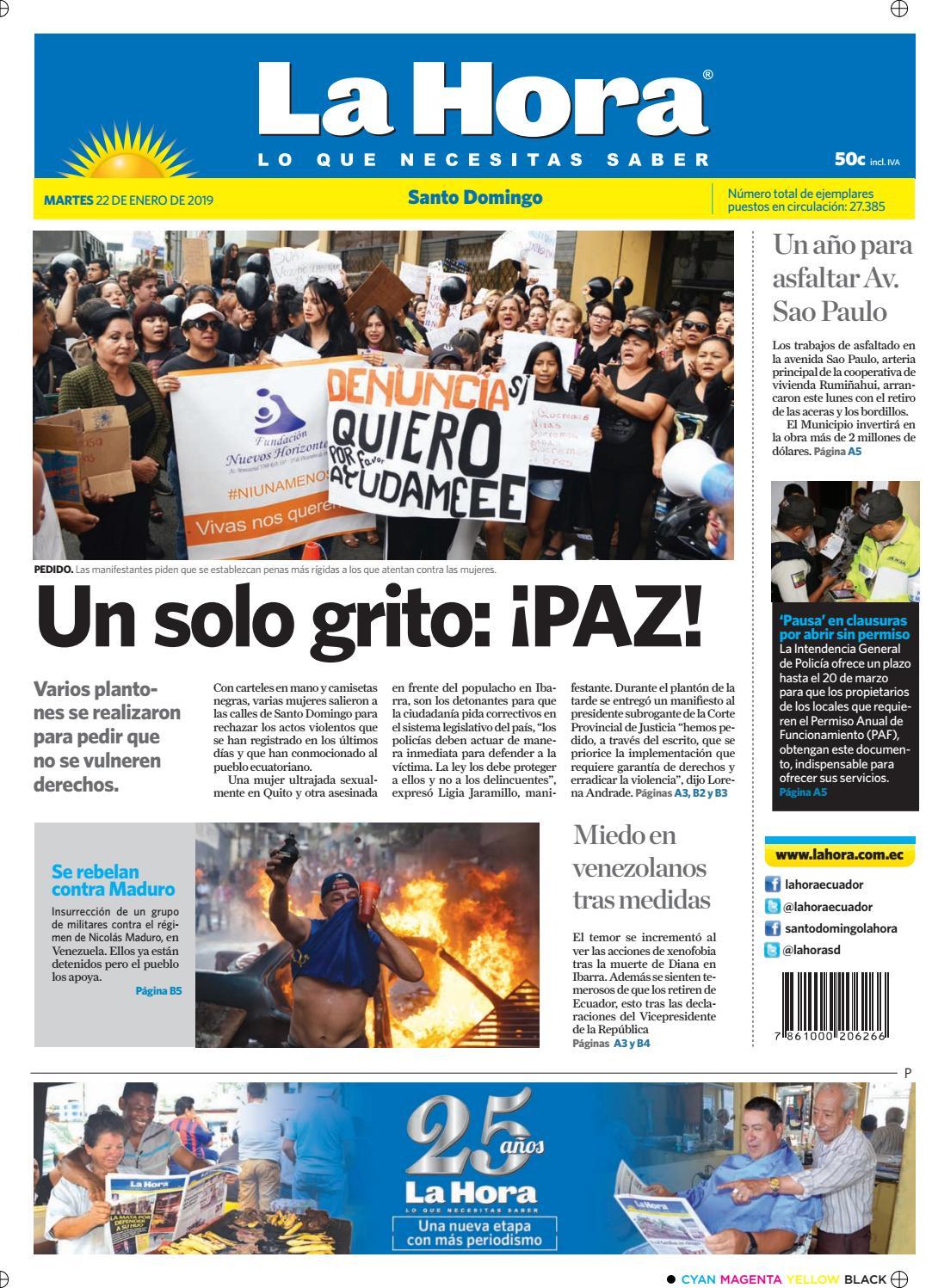 fd72a4e3784b7 Santo Domingo 22 de enero de 2019 by Diario La Hora Ecuador - issuu