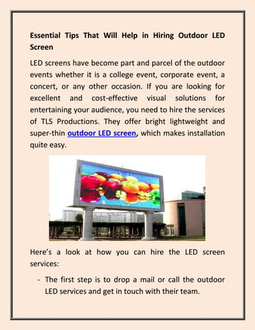 Essential Tips That Will Help in Hiring Outdoor LED Screen by TLS