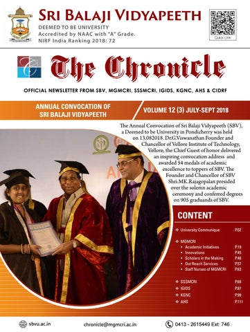 The Chronicle - Vol 12 Iss 3 Jul - Sep 2018 by Dept of Medical