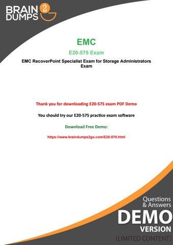 Latest Dell EMC E20-575 Exam Dumps - Free PDF Demo by