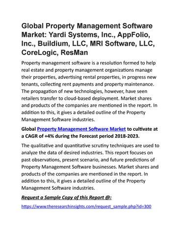 Property Management Software Market 2025 : Yardi Systems, Inc