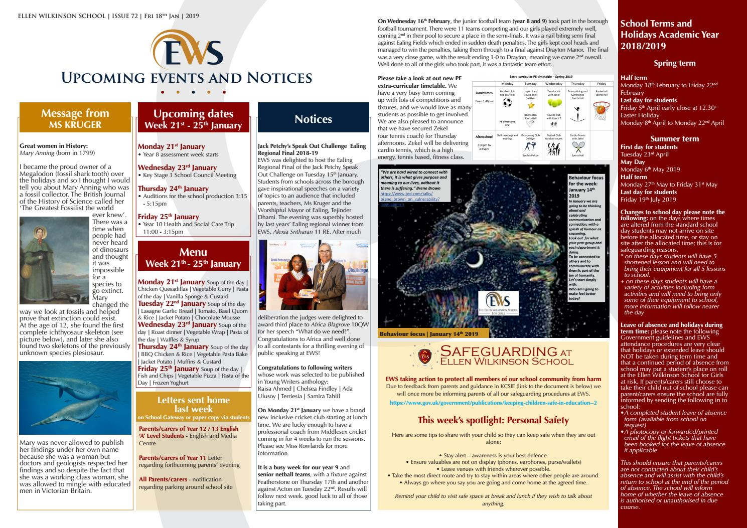 EWS This week 18 01 2019 by The Ellen Wilkinson School for Girls - issuu