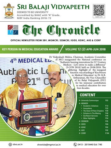 The Chronicle Volume 12 Issue 2 Apr - Jun 2018 by Dept of Medical
