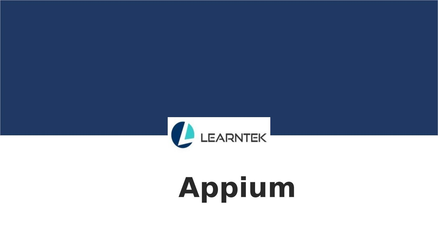 Appium Training by Learntek - issuu
