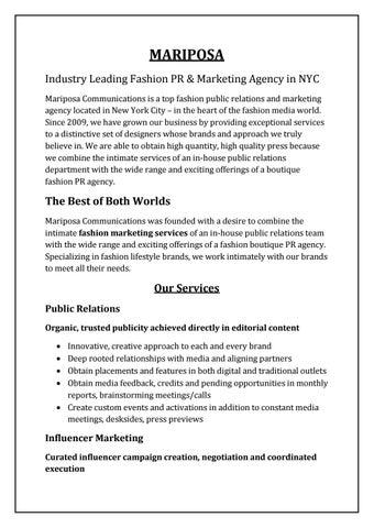 Mariposa-Fashion Public Relationons & Marketing Agency in NYC by