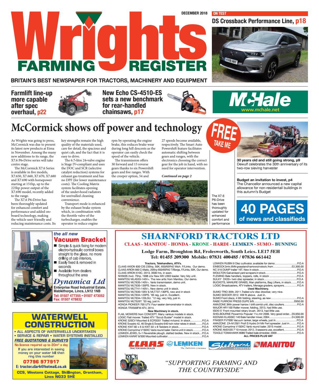 Wrights Farming Register 2018 December by Wrights Farming