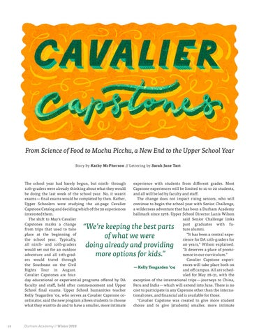 Page 14 of Cavalier Capstones: From Science of Food to Machu Picchu, a New End to the Upper School Year