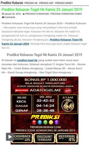 Prediksi Keluaran Togel Hk Kamis 24 Januari 2019