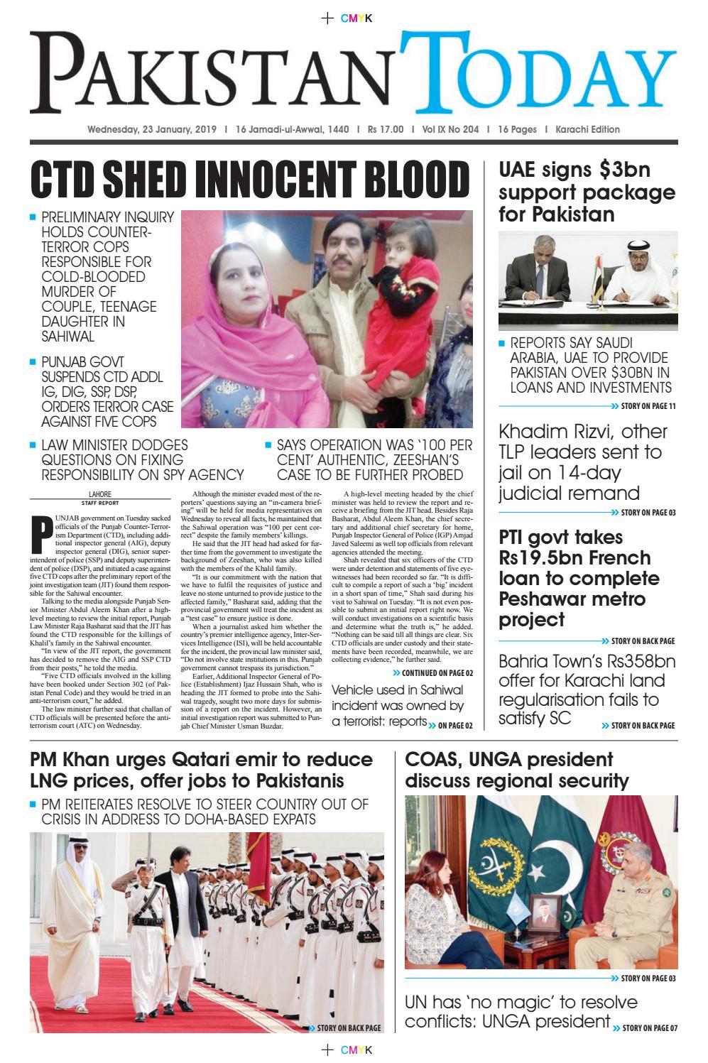 E-Paper PDF 23th January 2019 (KHI) by Pakistan Today - issuu