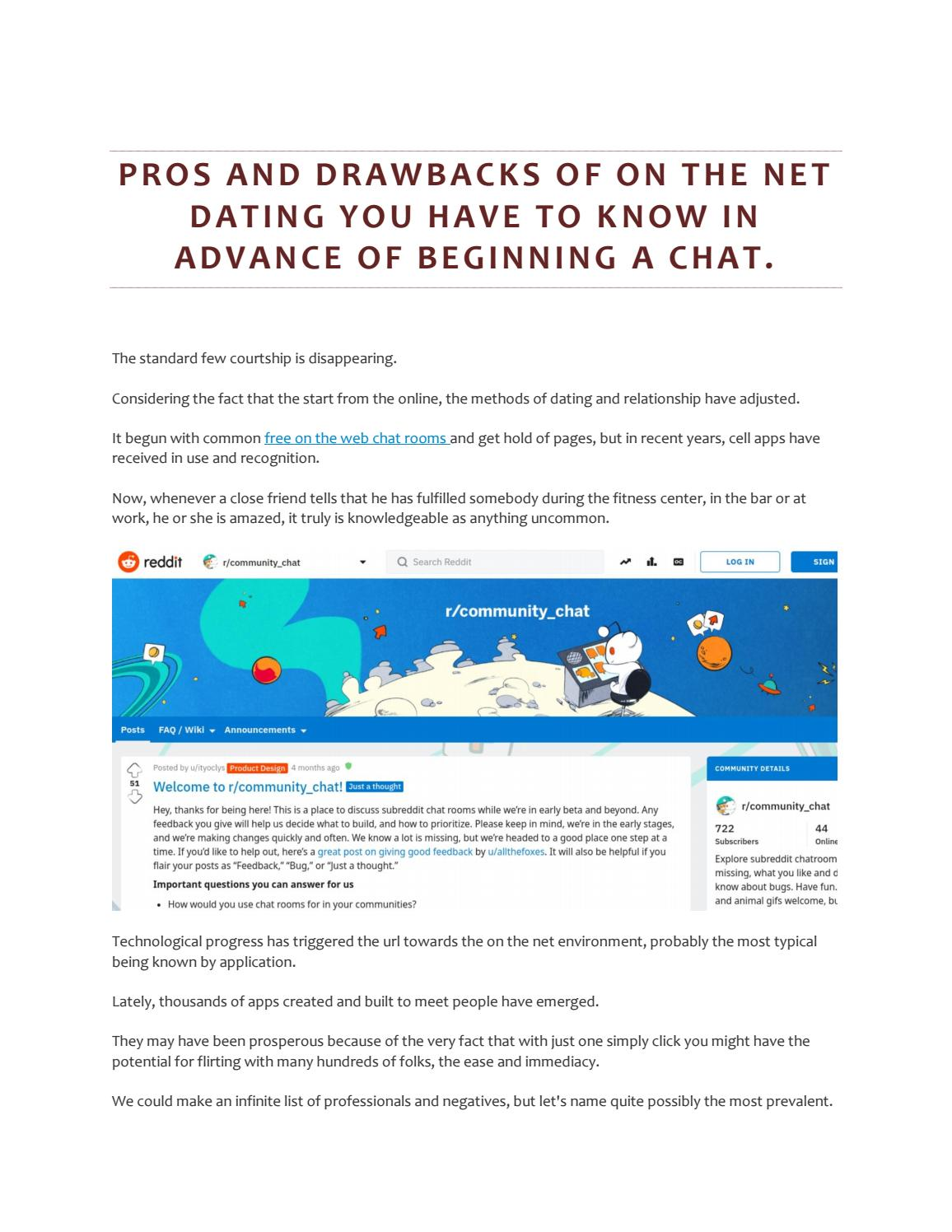 Pros and drawbacks of on the net dating you have to know in