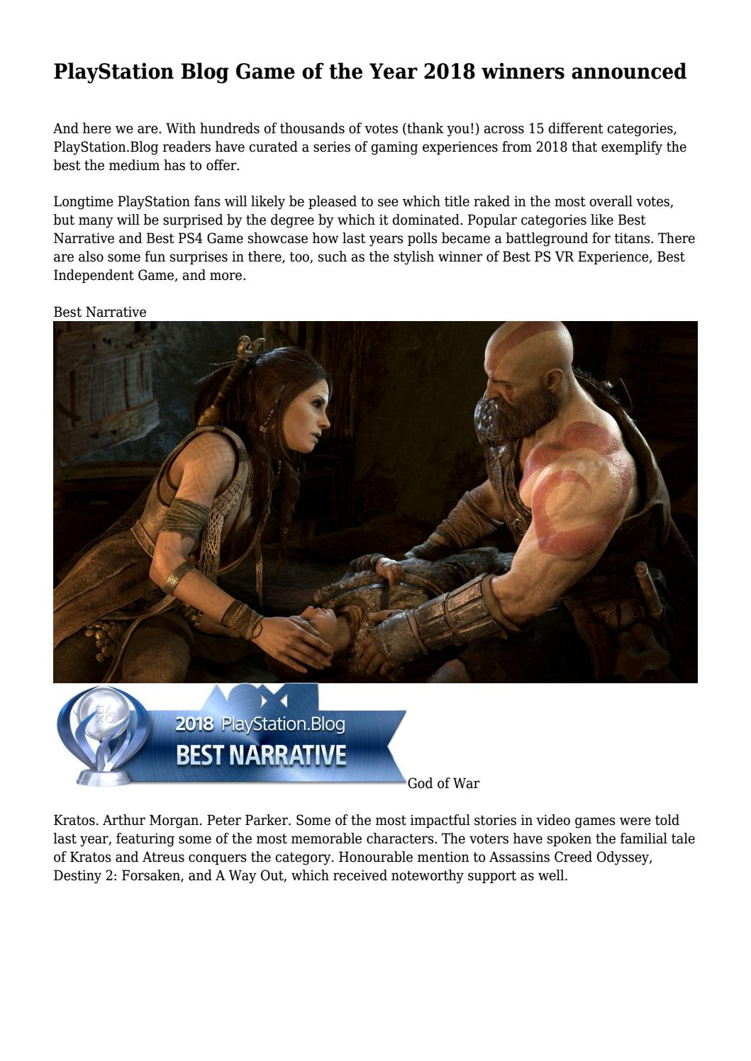 PlayStation Blog Game of the Year 2018 winners announced by