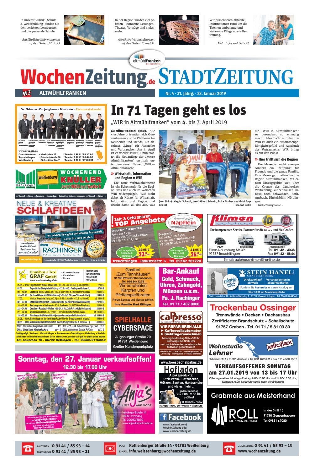 wochenzeitung altmuhlfranken kw 04 19 by wochenzeitung sonntagszeitung issuu
