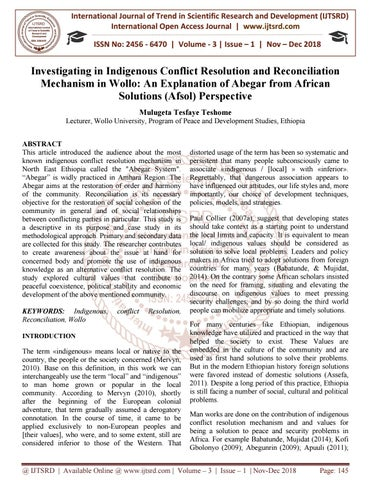 Investigating in Indigenous Conflict Resolution and Reconciliation