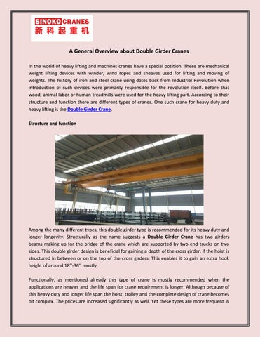 A General Overview about Double Girder Cranes by Henan Sinoko Cranes