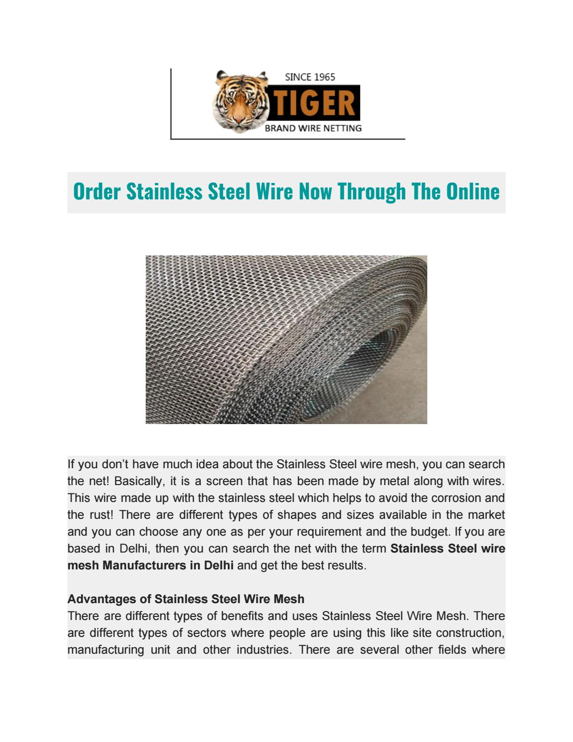 Order Stainless Steel Wire Now Through The Online by