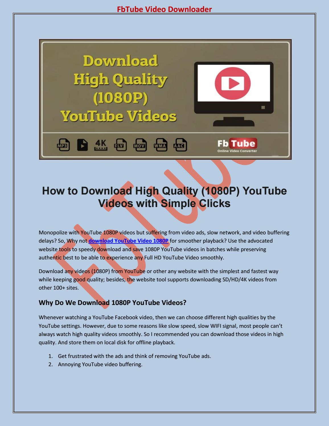 Download High Quality (1080P) YouTube Videos by Steven