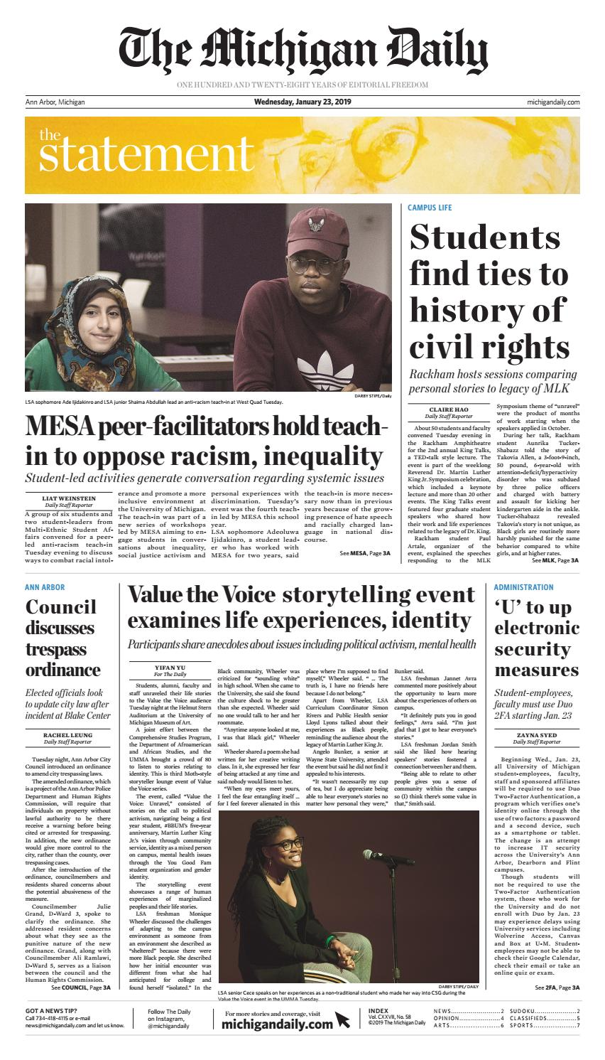 6d67c0a8e 2019-01-23 by The Michigan Daily - issuu