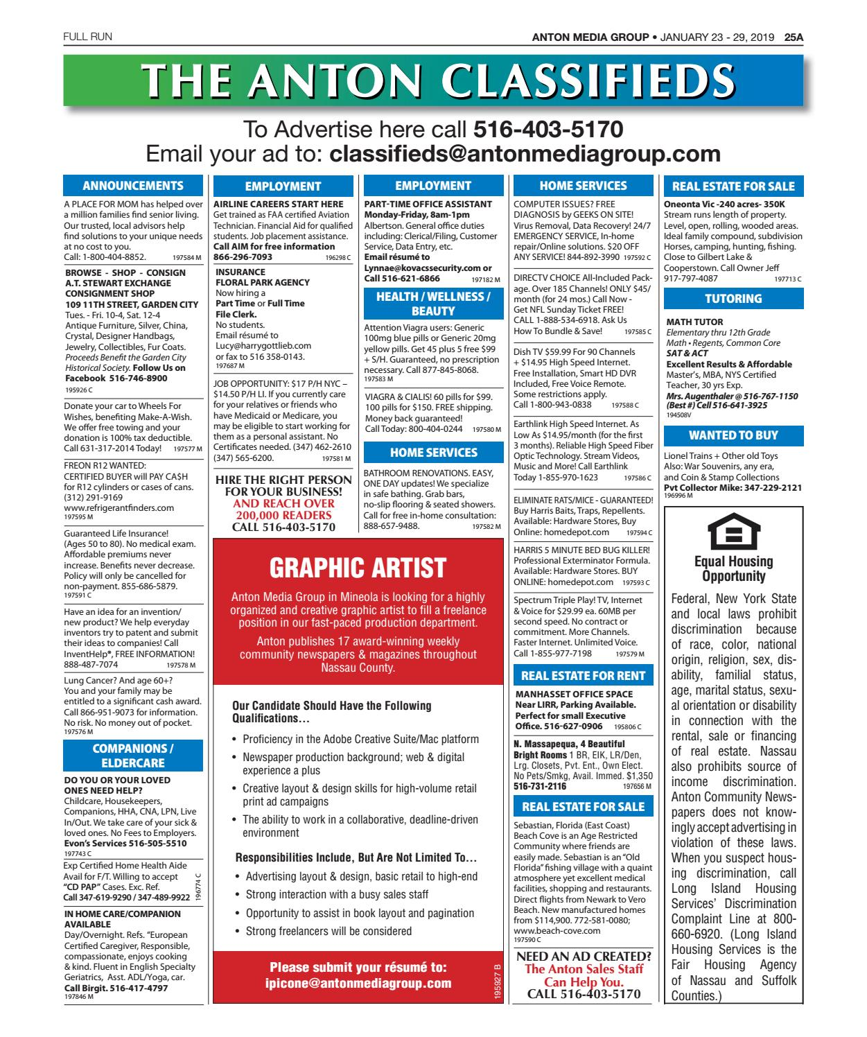 Classifieds 01-23-19 by Anton Community Newspapers - issuu