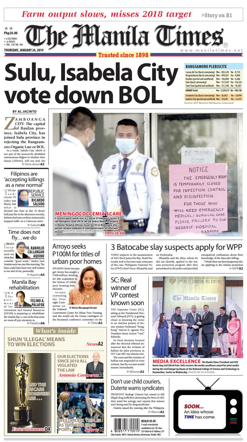 THE MANILA TIMES | JANUARY 24, 2019 by The Manila Times - issuu