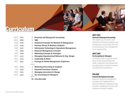 Page 2 of TTU Professional MBA Cirriculum