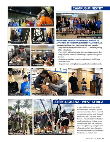 Page 19 of Dallas Christian School - service and spiritual life