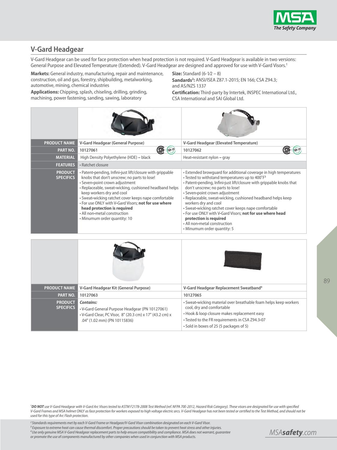 Standard 641817040034 MSA 10127063 V-Gard Headgear for Elevated Temperature