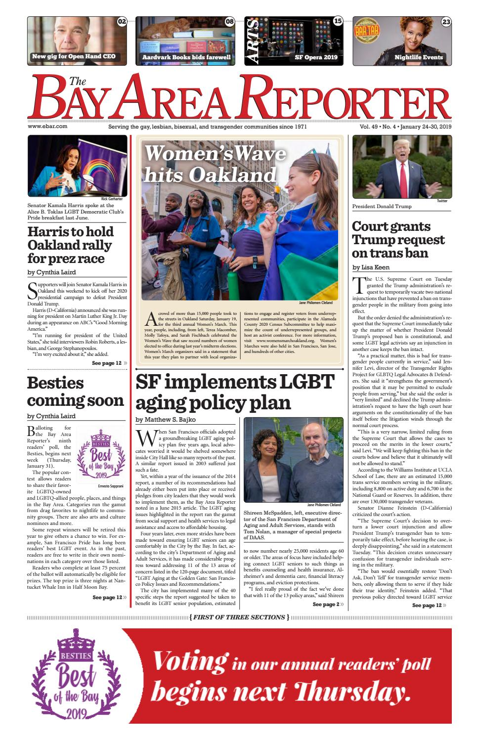 January 24, 2018 Edition of the Bay Area Reporter by Bay Area