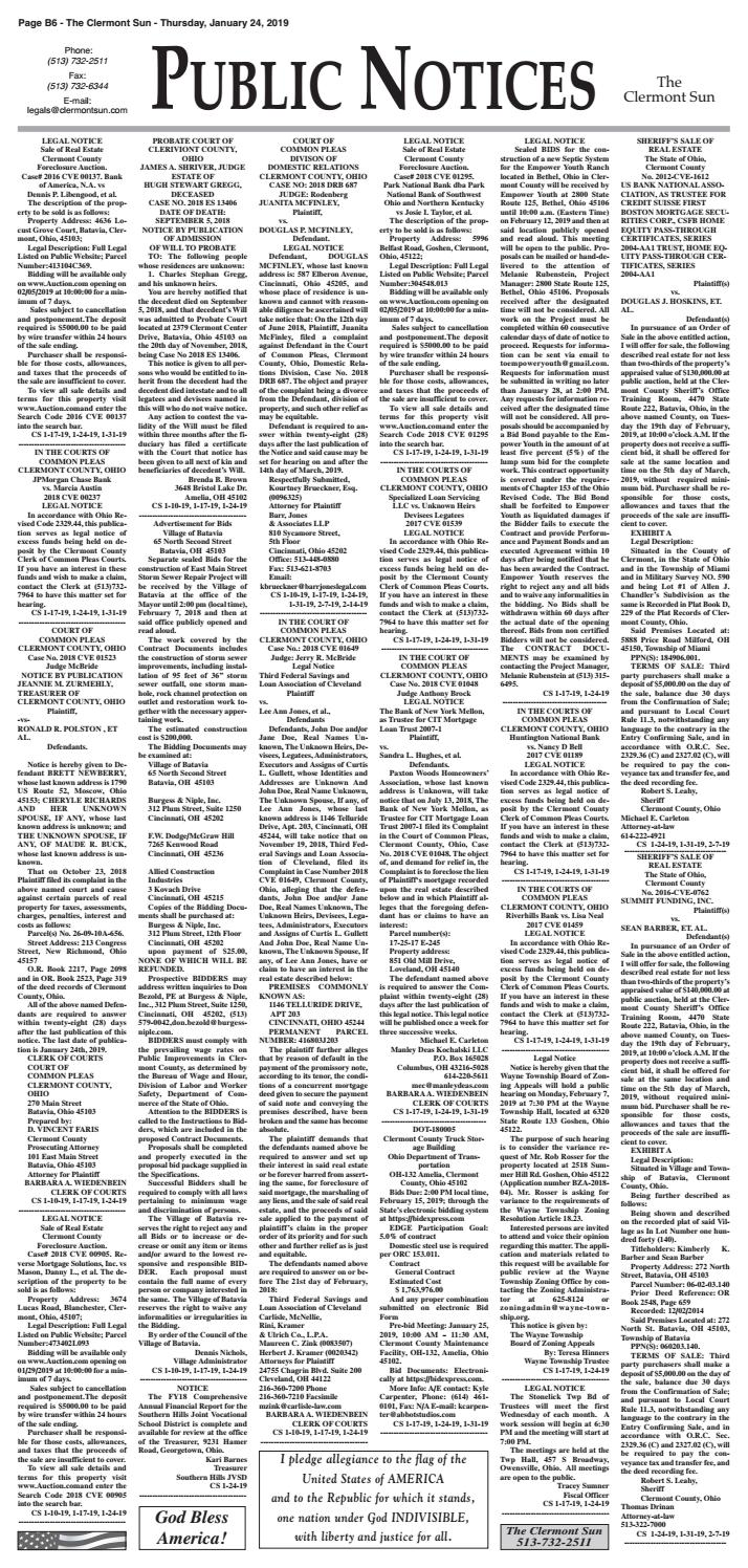 Clermont Sun Public Notices - January 24, 2019 by Clermont