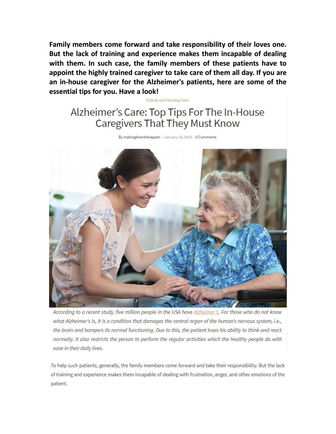 Alzheimer's Care: Top Tips For The In-House Caregivers That They