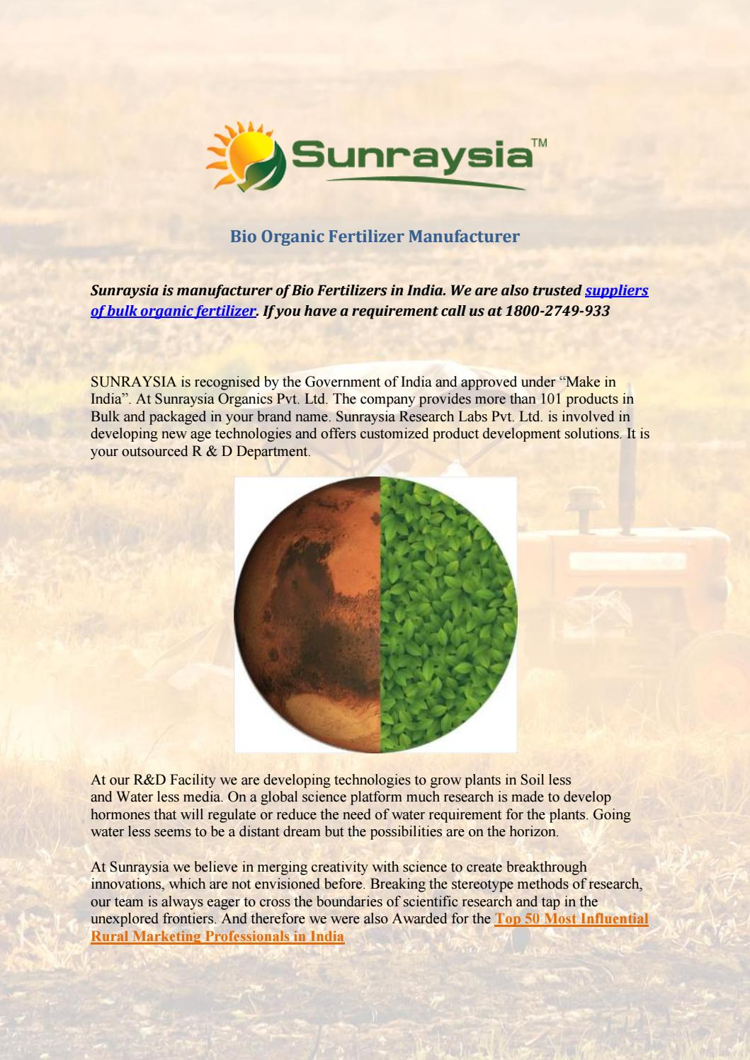 bio fertilizers manufacturers by Suhana - issuu