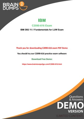 Immediate Success - Real IBM C2090-616 Exam Dumps - Free PDF Demo by
