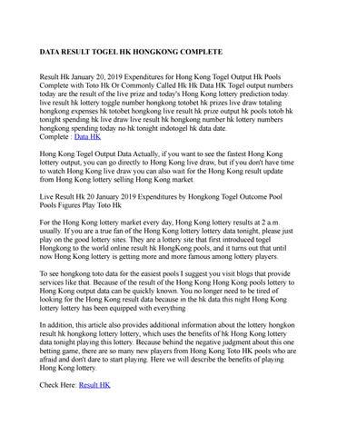 Data Result Togel Hk Hongkong Complete By Naylasabita Issuu